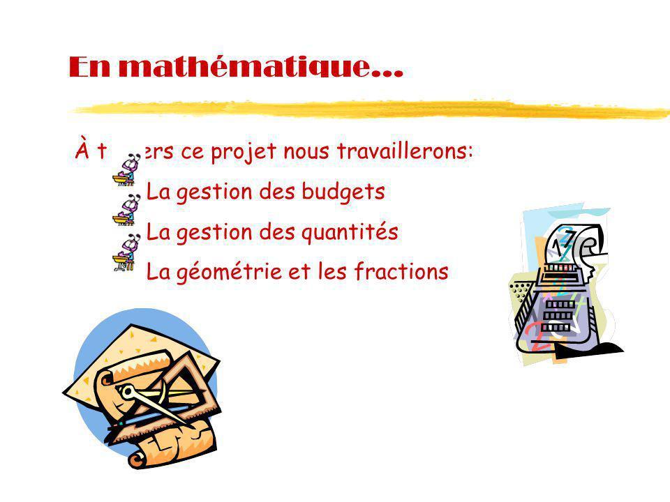 En mathématique… À travers ce projet nous travaillerons: