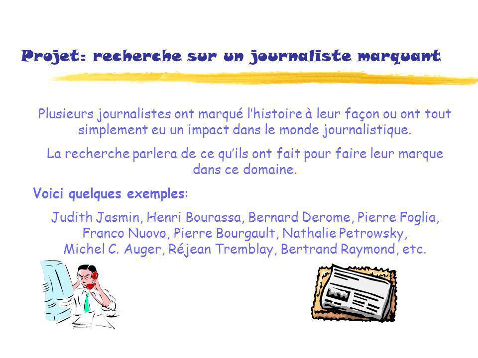 Projet: recherche sur un journaliste marquant