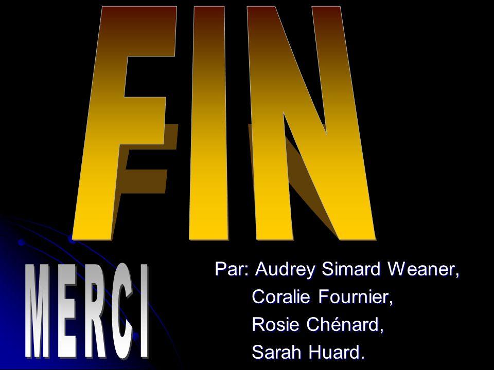 FIN MERCI Par: Audrey Simard Weaner, Coralie Fournier, Rosie Chénard,