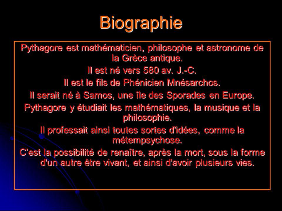 Biographie Pythagore est mathématicien, philosophe et astronome de la Grèce antique. Il est né vers 580 av. J.-C.