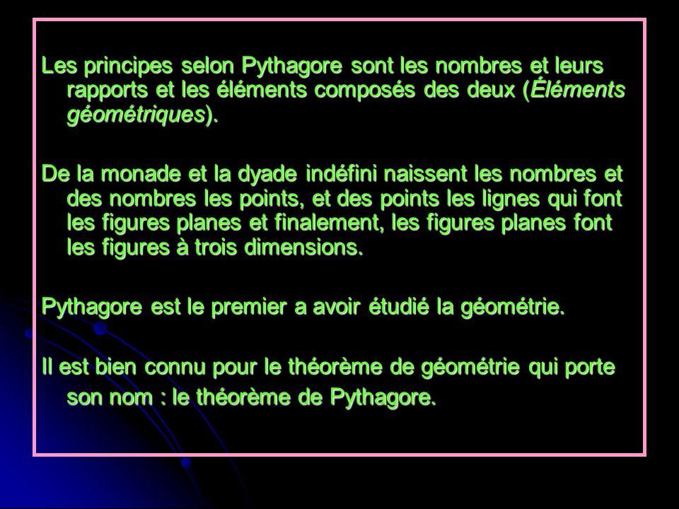 Les principes selon Pythagore sont les nombres et leurs rapports et les éléments composés des deux (Éléments géométriques).