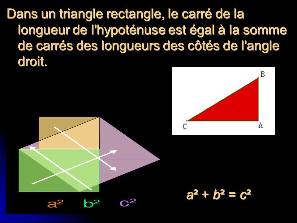 Dans un triangle rectangle, le carré de la longueur de l hypoténuse est égal à la somme de carrés des longueurs des côtés de l angle droit.
