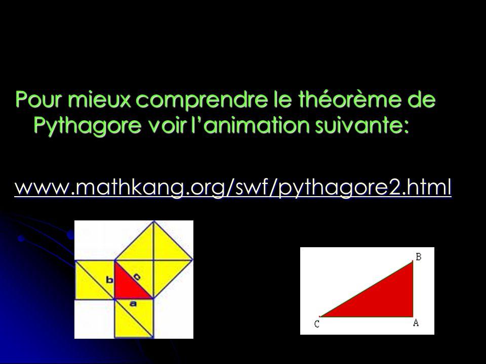 Pour mieux comprendre le théorème de Pythagore voir l'animation suivante: