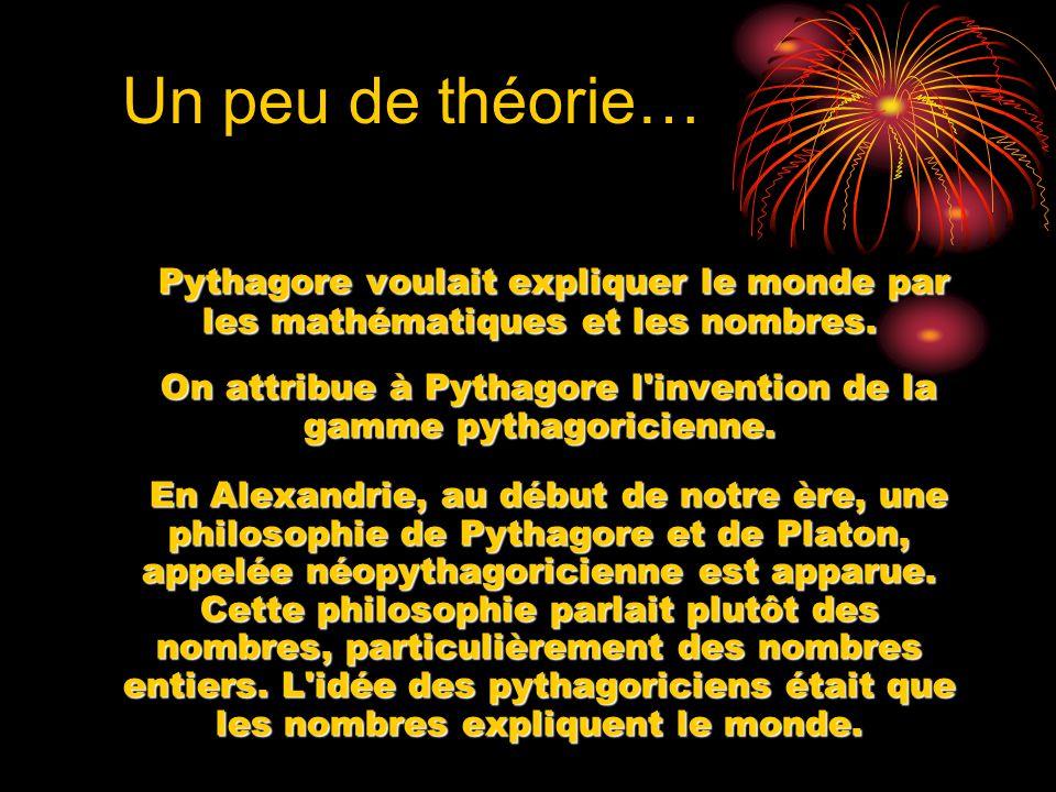 On attribue à Pythagore l invention de la gamme pythagoricienne.