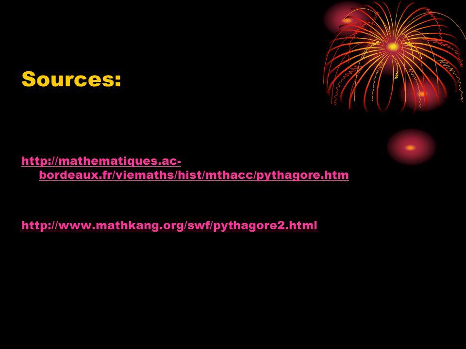 Sources: http://mathematiques.ac-bordeaux.fr/viemaths/hist/mthacc/pythagore.htm.