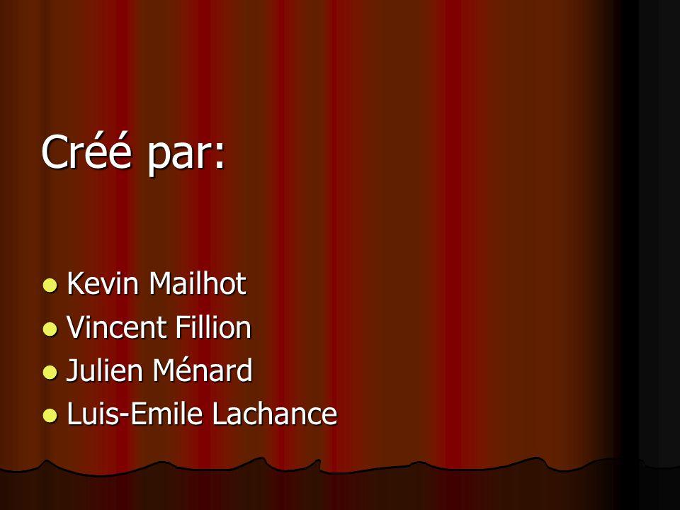 Créé par: Kevin Mailhot Vincent Fillion Julien Ménard