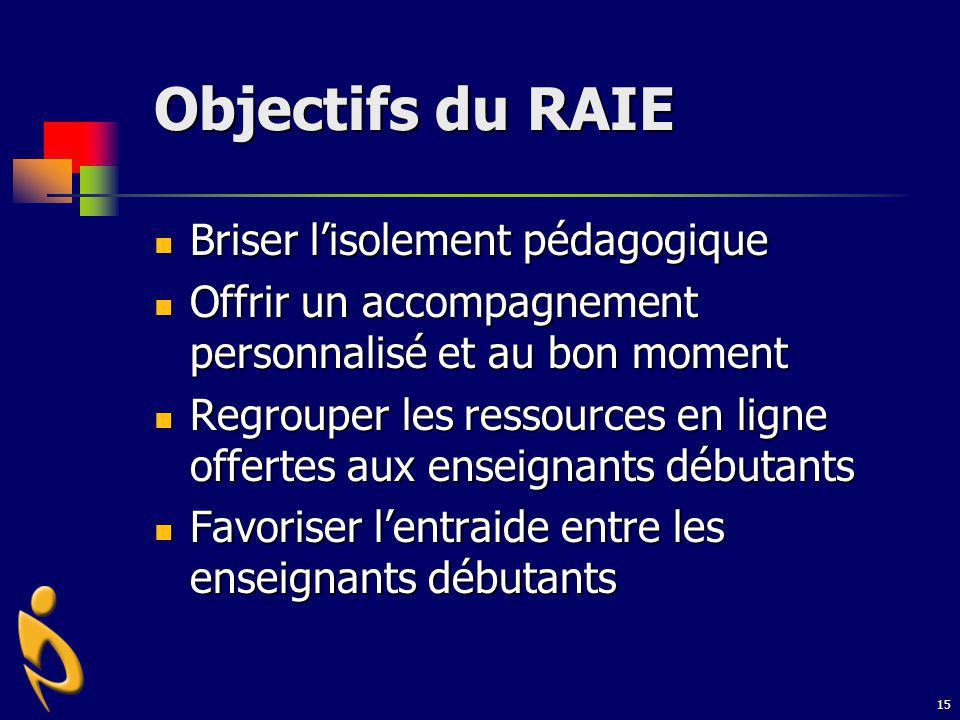 Objectifs du RAIE Briser l'isolement pédagogique
