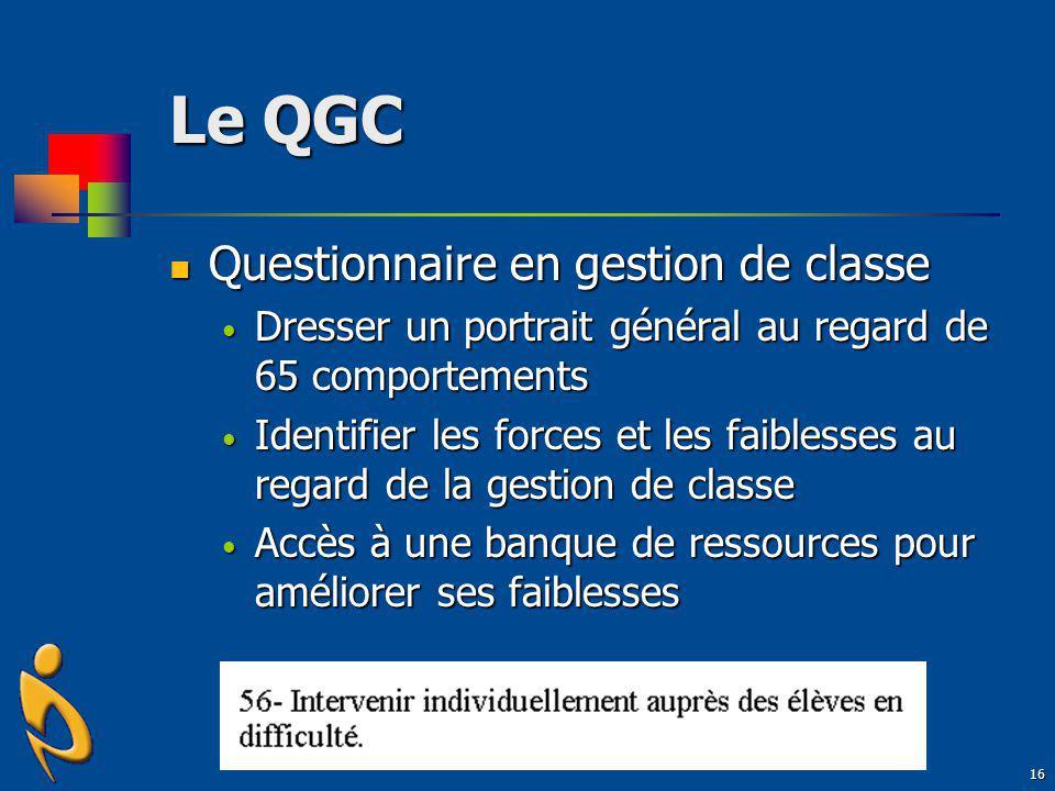 Le QGC Questionnaire en gestion de classe