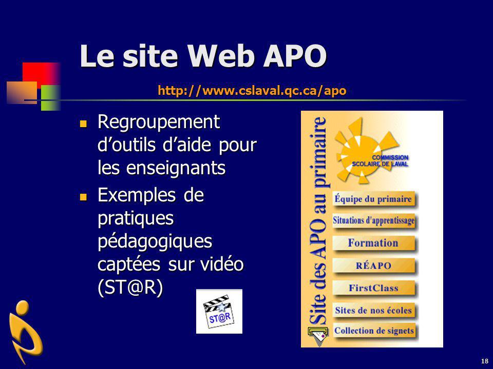 Le site Web APO Regroupement d'outils d'aide pour les enseignants