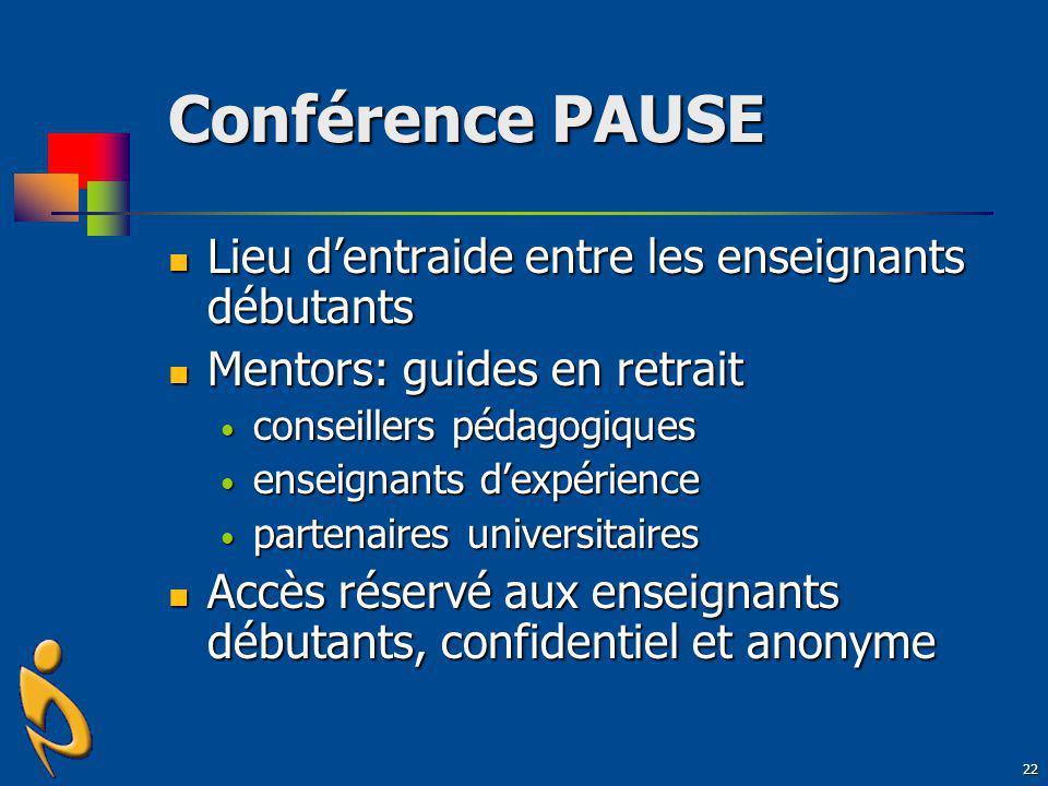 Conférence PAUSE Lieu d'entraide entre les enseignants débutants