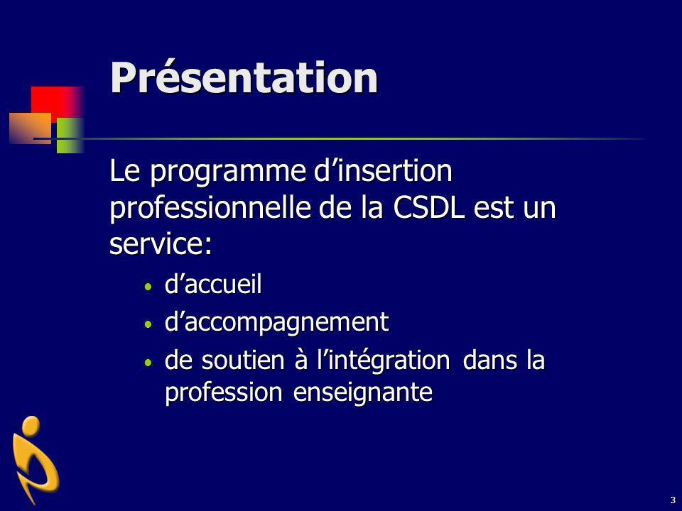 Présentation Le programme d'insertion professionnelle de la CSDL est un service: d'accueil. d'accompagnement.