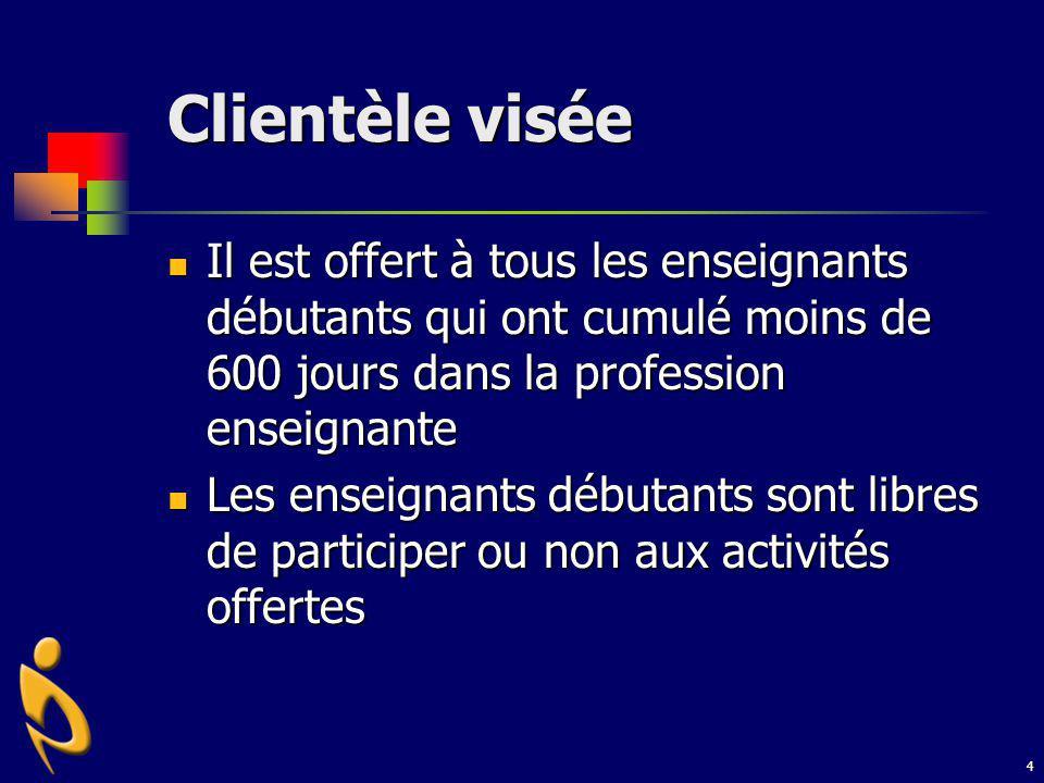 Clientèle visée Il est offert à tous les enseignants débutants qui ont cumulé moins de 600 jours dans la profession enseignante.