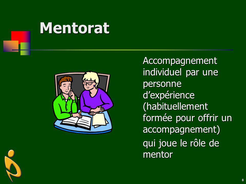 Mentorat Accompagnement individuel par une personne d'expérience (habituellement formée pour offrir un accompagnement)