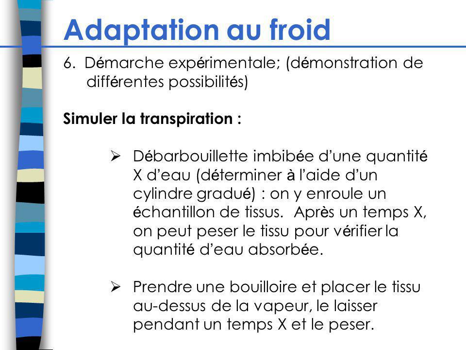 Adaptation au froid 6. Démarche expérimentale; (démonstration de différentes possibilités) Simuler la transpiration :