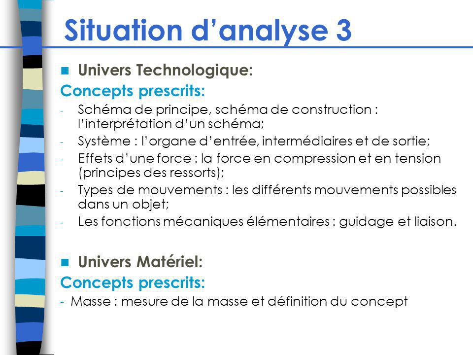 Situation d'analyse 3 Univers Technologique: Concepts prescrits: