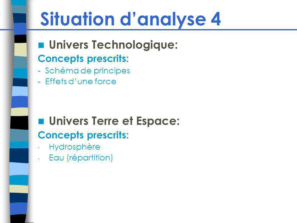 Situation d'analyse 4 Univers Technologique: Univers Terre et Espace: