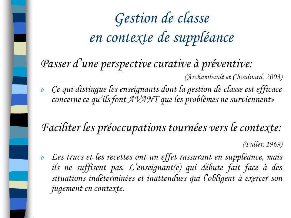 Gestion de classe en contexte de suppléance