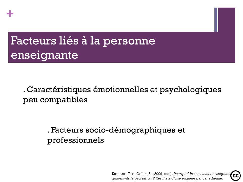 Facteurs liés à la personne enseignante