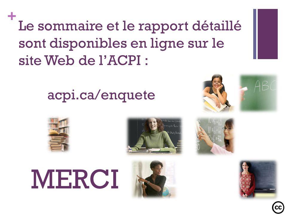 Le sommaire et le rapport détaillé sont disponibles en ligne sur le site Web de l'ACPI : acpi.ca/enquete