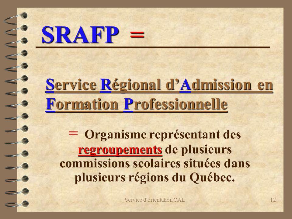 Service Régional d'Admission en Formation Professionnelle