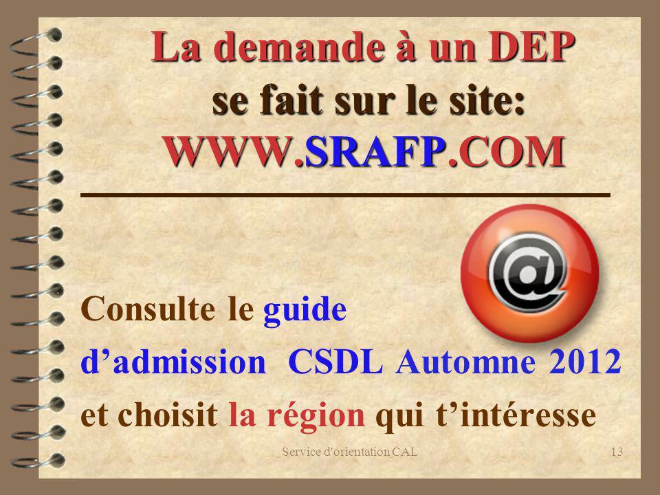 La demande à un DEP se fait sur le site: WWW.SRAFP.COM