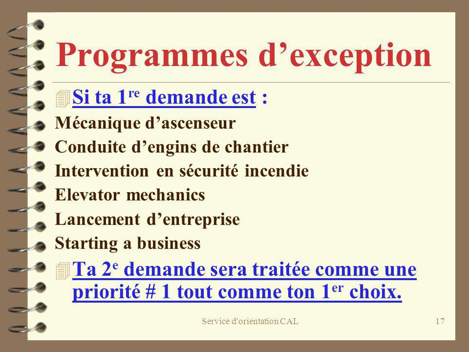 Programmes d'exception