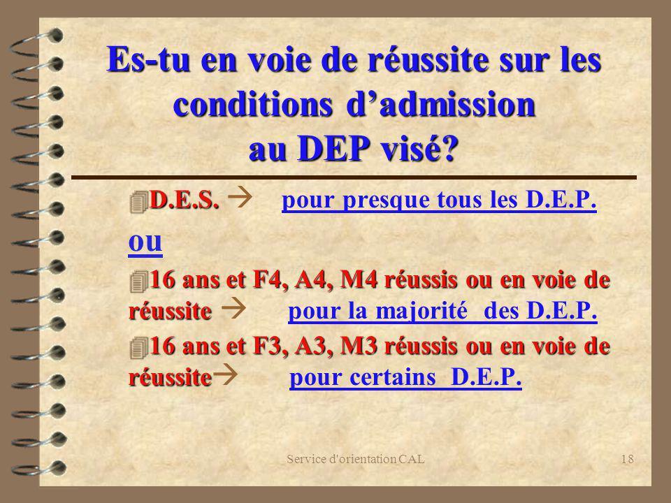Es-tu en voie de réussite sur les conditions d'admission au DEP visé