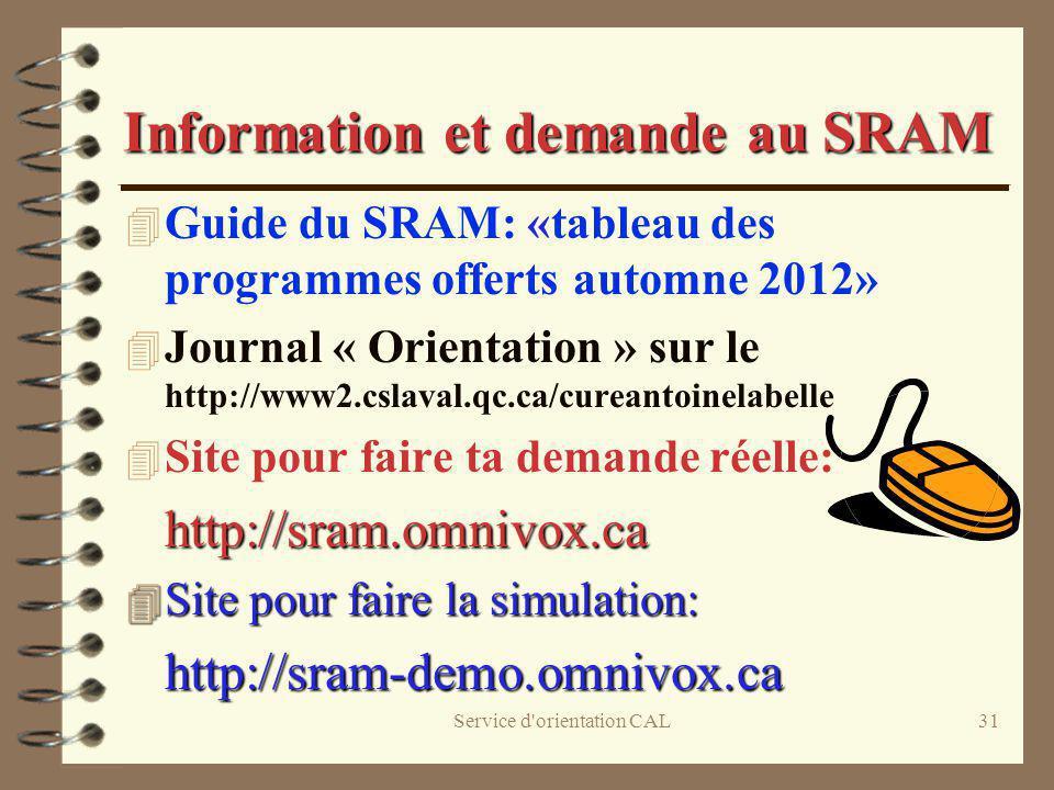 Information et demande au SRAM