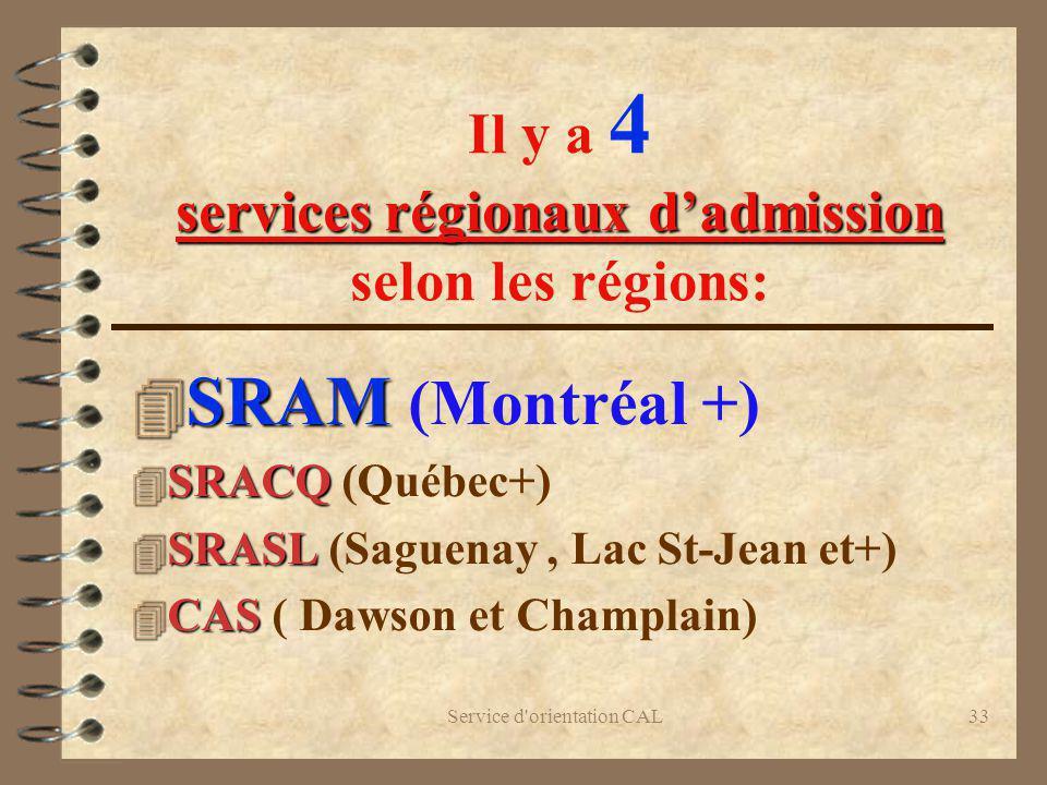Il y a 4 services régionaux d'admission selon les régions: