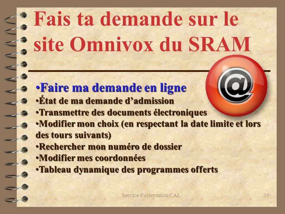 Fais ta demande sur le site Omnivox du SRAM