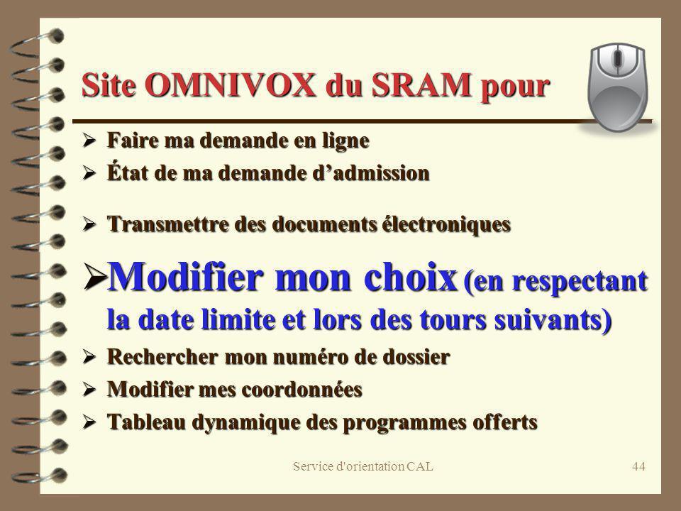 Site OMNIVOX du SRAM pour