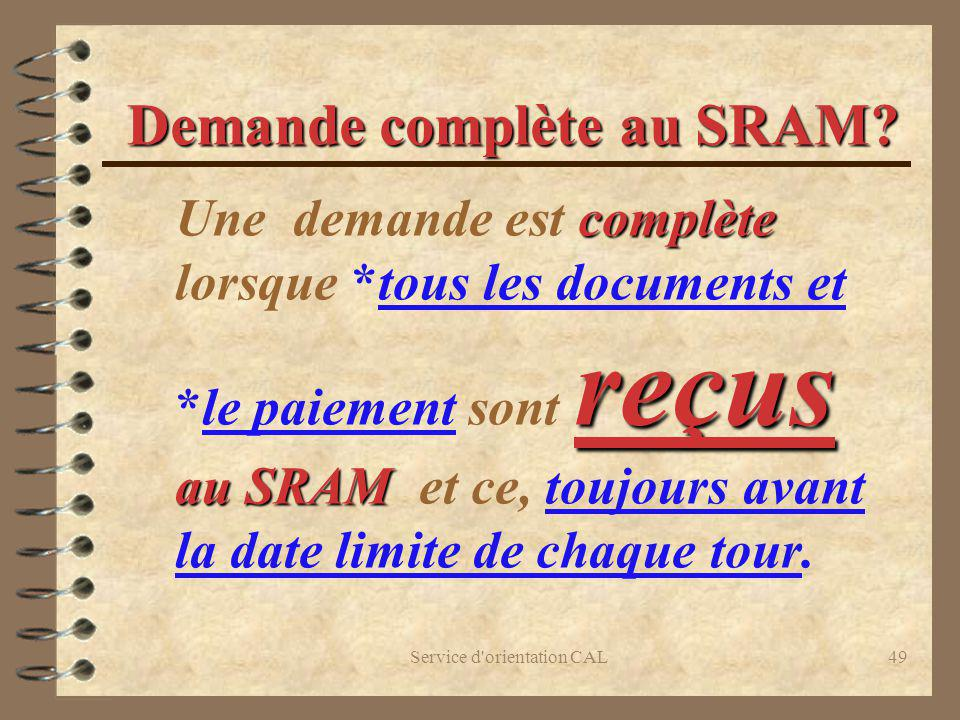 Demande complète au SRAM