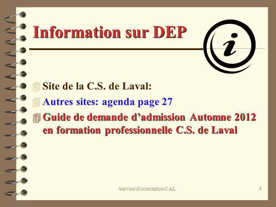 Service d orientation CAL