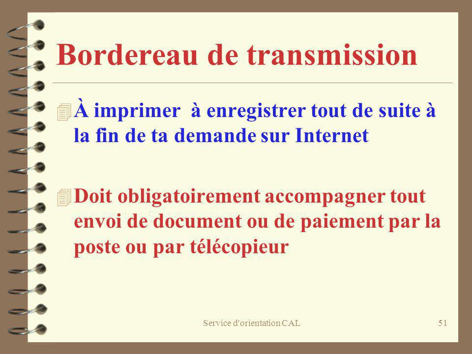Bordereau de transmission