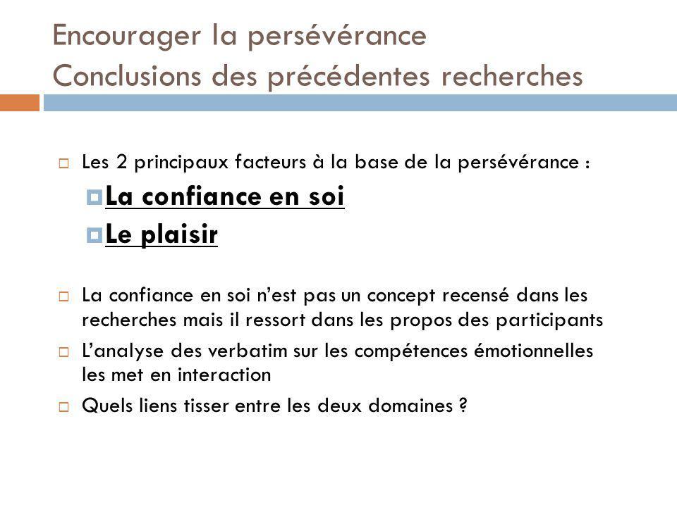 Encourager la persévérance Conclusions des précédentes recherches