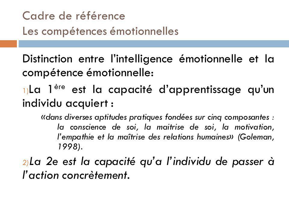Cadre de référence Les compétences émotionnelles