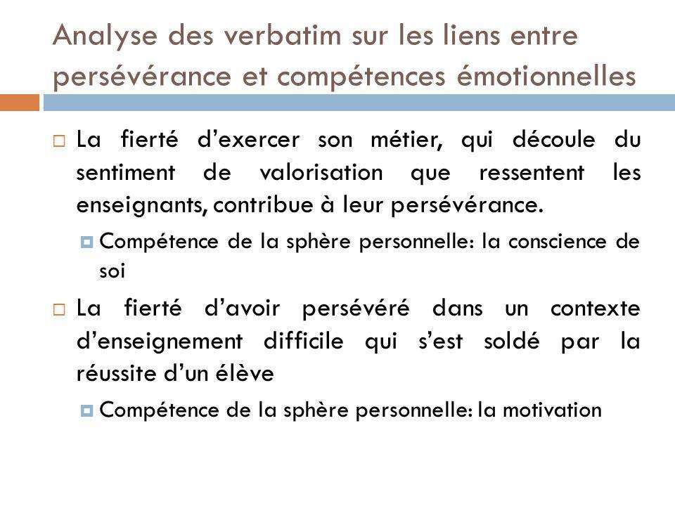 Analyse des verbatim sur les liens entre persévérance et compétences émotionnelles