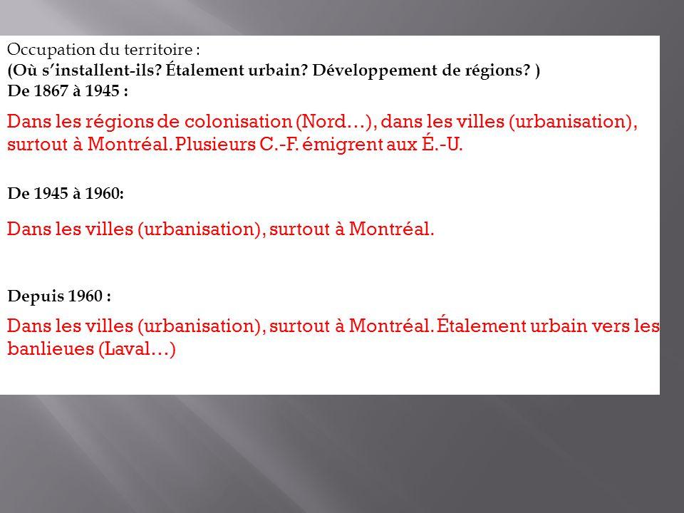 Dans les villes (urbanisation), surtout à Montréal.