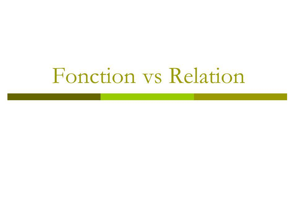 Fonction vs Relation