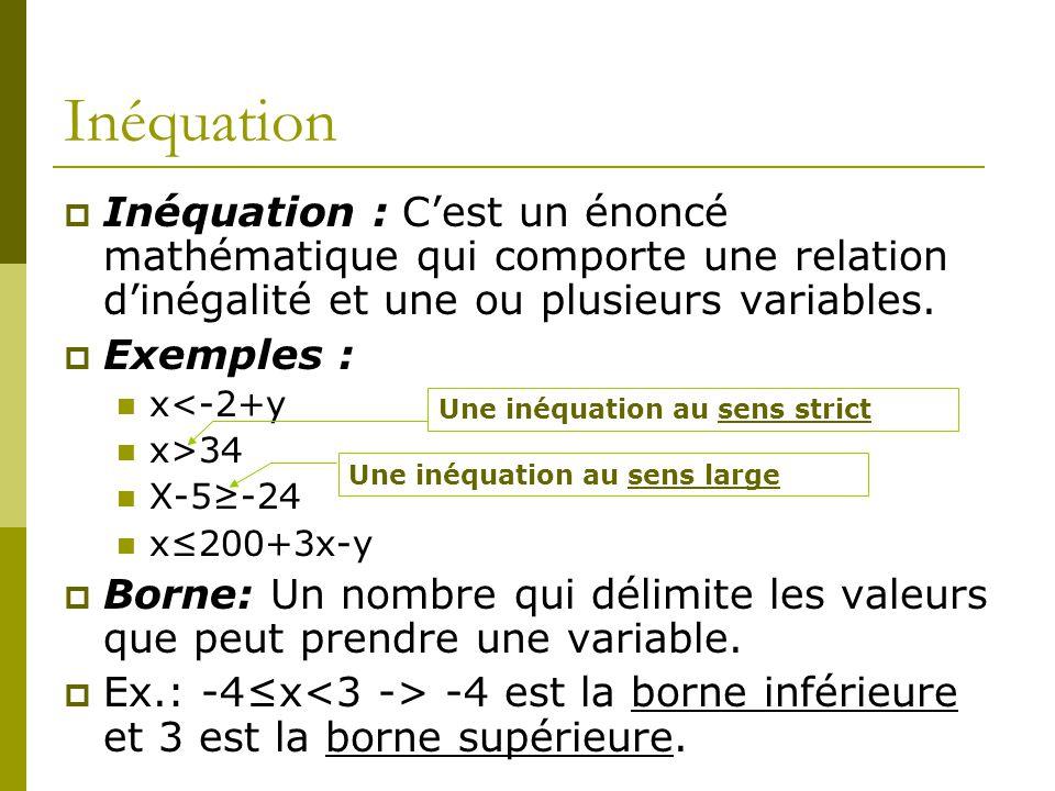 Inéquation Inéquation : C'est un énoncé mathématique qui comporte une relation d'inégalité et une ou plusieurs variables.
