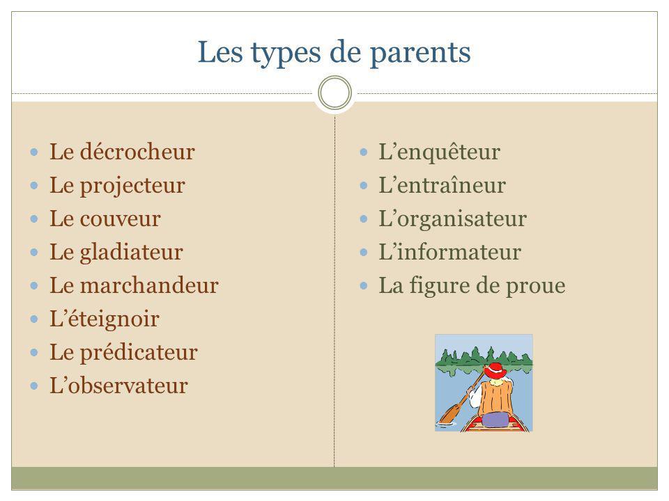 Les types de parents Le décrocheur Le projecteur Le couveur