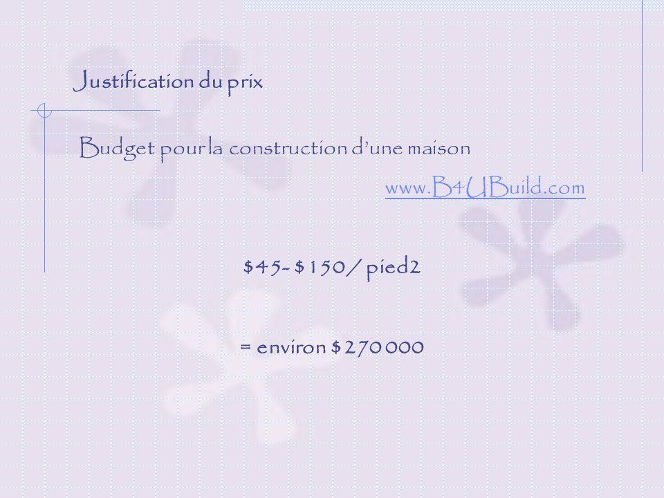Justification du prix Budget pour la construction d'une maison. www.B4UBuild.com. $45- $150 / pied2.