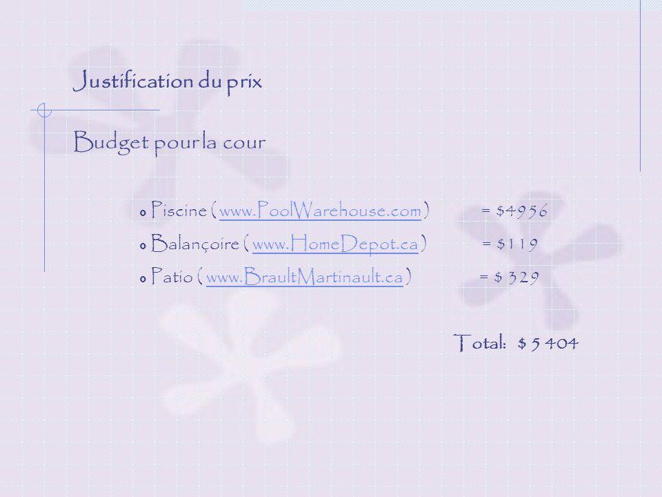 Justification du prix Budget pour la cour