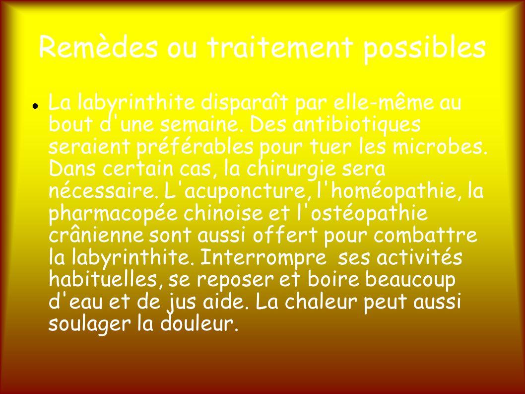 Remèdes ou traitement possibles