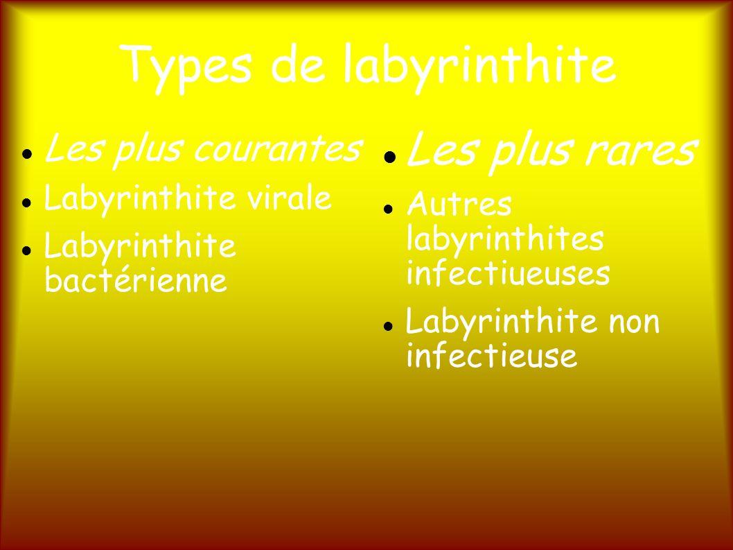 Types de labyrinthite Les plus rares Les plus courantes