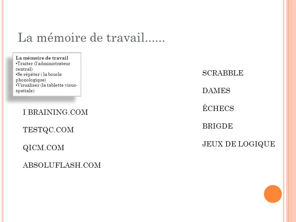 La mémoire de travail......  2 listes de mots monosyllabiques