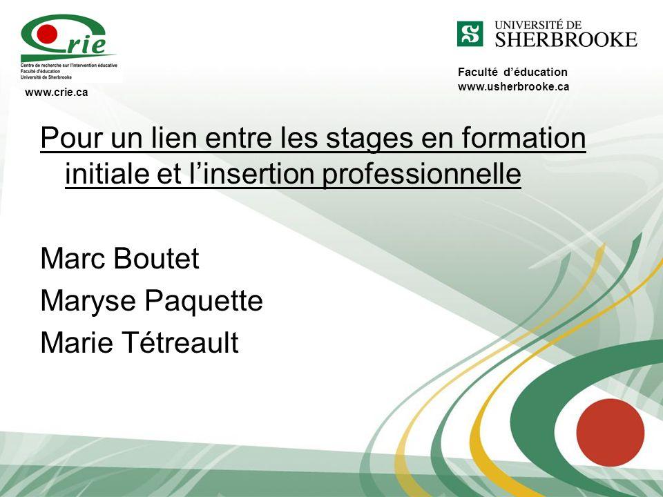 Faculté d'éducation www.usherbrooke.ca. www.crie.ca. Pour un lien entre les stages en formation initiale et l'insertion professionnelle.