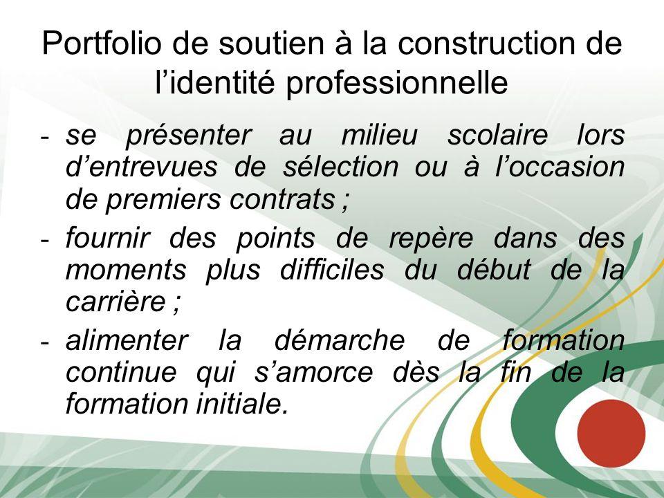 Portfolio de soutien à la construction de l'identité professionnelle
