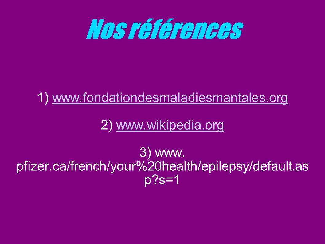 Nos références 1) www.fondationdesmaladiesmantales.org