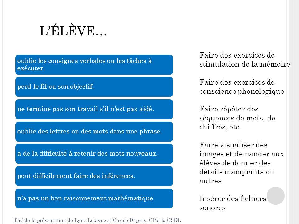 L'ÉLÈVE… La flexibilité